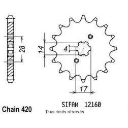 Pignon 50 à boite 12160CZ15 pour DERBI SENDA 50 00-05